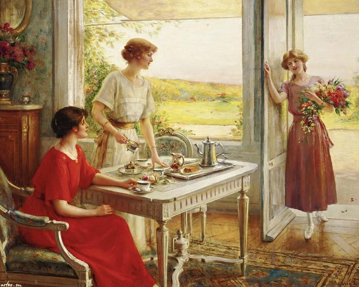 картина молодые девушки пьют чай