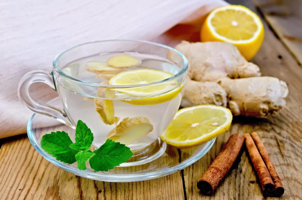чай с лимоном мятой и корицей