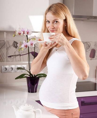 молодая девушка в положении пьёт чай